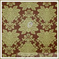 BonEful Fabric FQ Cotton Quilt Green Brown Olive Large Damask Flower Toile Leaf
