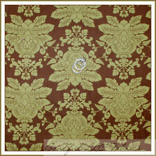 BonEful Fabric Cotton Quilt VTG Green Brown Olive Large Damask Flower Leaf SCRAP