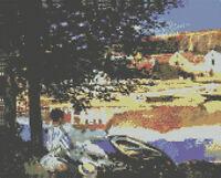 "Monet River Scene at Bennecourt Cross Stitch Kit 12"" x 9.5"" 30.5cm x 24cm"