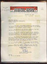 Original October 30 1950 Football Digest Signed Letter + Mailing Envelope