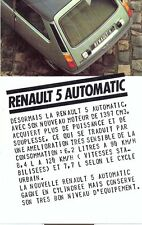 Renault 5 1300 Automatic French market sales brochure