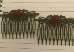 (2) Red Rose Victorian Cabochon Vintage Bronze Filigree Small Hair Combs