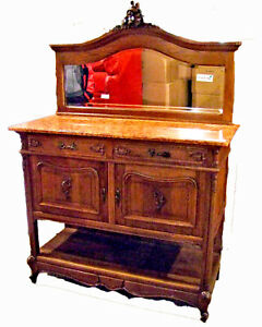 19th Century French Oak and Marble Dressing Table/Washstand - (020103)