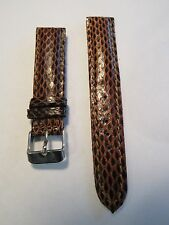 19mm Multi Color Brown Tone Shiny Coated GENUINE Python Watch Strap GORGEOUS !
