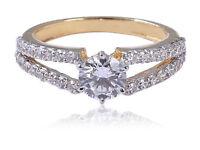 Pave 1,10 Cts Runde Brilliant Cut Natürliche Diamanten Ring In 14 Karat Gelbgold