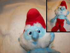 "Papa Smurf  Stuffed Plush Embroidered Blue Eyes Santa NEW 10"" fuzzy face"