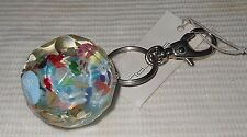Sobral Wildflowers Flor Do Camp Blue Core Confetti Key Chain Ring Brazil Import