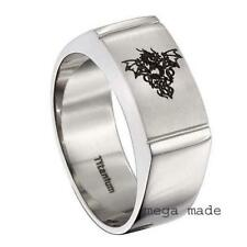 Titanium Ring Engraving Flying Dragon Wedding Band Engagement Men Jewely Sz 9