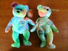 2 ~ Ty Beanie Babies Retired Peace Bear Original Rainbow of colors!