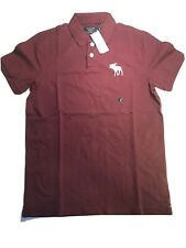 NWT New ABERCROMBIE & FITCH Men's Exploded Icon Stretch Polo Burgundy Size Med