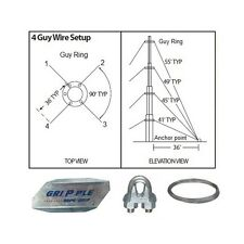 """40' ft 4 Way Down Guy Wire Kit w/ 48"""" Anchors for Telescoping Antenna Masts"""