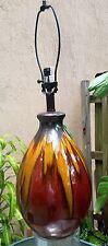 Gun Metal Metallic Drip Glaze Table Lamp Maroon Tan Mid-Century Modern Design