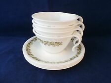 Corelle Crazy Daisy Spring Blossom 4 Cup & Saucer Sets Hook Handle USA Vintage