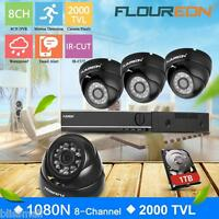 8CH 1080N AHD DVR Outdoor 2000TVL CCTV Video Security Camera System KITS 1TB HDD