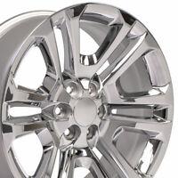 22x9 Chrome CK158 4741 Wheel SET Fits Chevy Silverado GMC Sierra