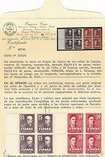 España - Correo- Año: 1947 - numero 01015/16 - Precioso Bloque de 4 / Borde de H