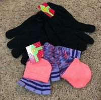 NWT Girls Black Joe Boxer Texting Purple Pink Flip Top Gloves 3 Pair