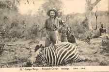 BELGIUM CONGO PICTORIAL POSTAL STATIONERY CARD USED Nº 52 CEBRA ZEBRA HUNTERS