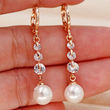 """18K Gold Filled 1.5"""" Earrings Round Clear Topaz Pearl Pendant Women Sparkling BR"""