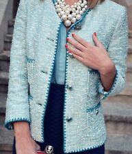 😊  ZARA ELEGANT BOUCLE TWEED  BLAZER JACKET WITH POCKET & BUTTON size Medium