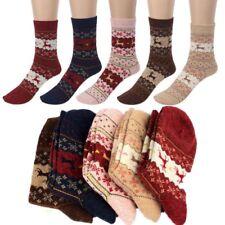 5 Pair Women Winter Socks Christmas Gift Warm Wool Deer Cute Snowflake Socks LOT