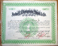 1903 Stock Certificate Number #1: John L. Thompson, Sons & Co. Drugs - Troy, NY