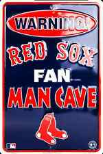 """BOSTON RED SOX SIGN WARNING RED SOX FAN MAN CAVE METAL PARKING SIGN 8""""x 12"""""""