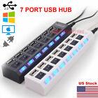 US 7 Port USB 2.0 HUB LED Powered High Speed Splitter Extender Cable Black White