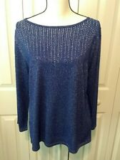 RUBY Rd. Favorites Sparkly Dazzling Blue & Silver Embellished Tunic Sweater XL