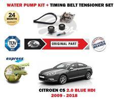 FOR CITROEN C5 2.0 BLUE HDI 2009-2018 WATER PUMP + TIMING CAM BELT TENSIONER KIT