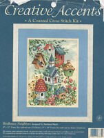 Creative Accents  Counted Cross Stitch Kit Birdhouse Neighbors #7875 started