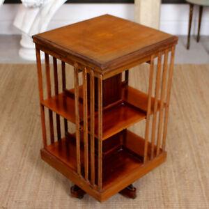 Antique Edwardian Revolving Bookcase Inlaid Mahogany