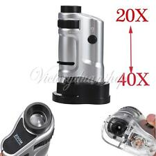 20X-40X Zoom Mini Pocket Power LED Jewelry Magnifying Microscope Magnifier Loupe