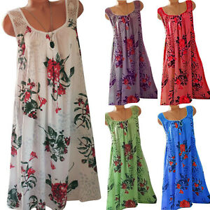 Ladies Womens Party Boho Floral Mini Dress Beach Casual Strappy Vest Dress UK