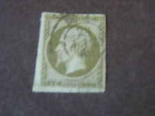 *FRANCE, SCOTT # 12, 1c. VALUE 1853-60 ISSUE GREEN/PALE BLUE NAPOLEON ISSUE USED