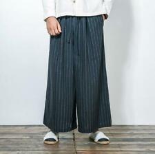 Mens Harem Pants Loose Pants Casual Samurai Trousers Chinese Cotton Linen Wide