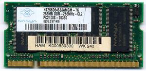 DDR SODIMM laptop memory NANYA 256Mb PC2100 266MHz Model:nt256d64s88amgm-7k