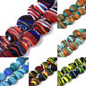 35pc/Strd Handmade Lampwork Glass Beads Coin Striped Froste Loose Spacer 15~16mm