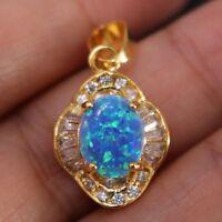 Vintage 3 Ct Blue Australian Fire Opal White CZ Pendant Jewelry 14K Gold Plated
