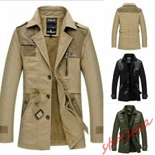 Mid Long Style Mens Trench Coat Slim Fit Casual Jacket Faux Fur Lined Warm Parka