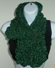 Cozy Green Velvet yarn 29in hand Crochet button neck warmer collar scarf  ESN5