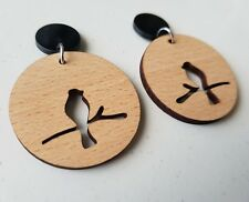 Wooden boho bird cutout dangle stud earrings black pad lasercut design