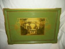 Antique 20's Wood Tole Tray Decoupage Tinted Victorian Garden Gilt Chic Shabby