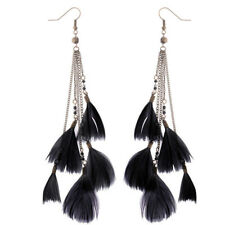 Bohemian Fashion Women Jewelry Long Chain Feather Earrings Dangle Eardrop Hook