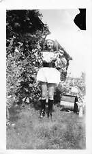 LION TAMER CIRCUS PERFORMER HORSE TRAINER WOMAN w/ WHIP VTG 1940s PHOTO 145