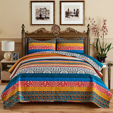 3-Piece Exotic Boho Quilt Set Bedspread/Coverlet/Bed Cover Reversible Decorative