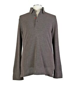 ISAIA Napoli XL Wool Blend Taupe Long Sleeve Polo Embroidered Logo Flip Cuffs