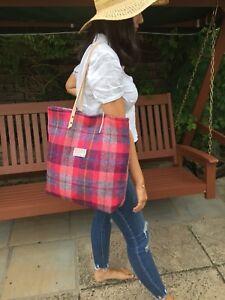 Harris tweed tote, Harris tweed bag, pink bag, pink purse, large tote, wife gift