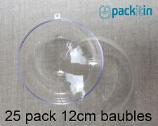 12cm (x25 qty) Clear Acrylic Two Piece ROUND Baubles Balls christmas ornaments