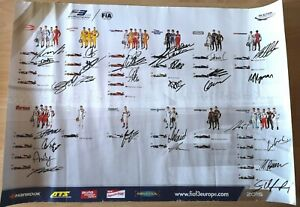 F3, F1,  28 drivers signed poster Leclerc, Giovinazzi, Stroll, Russell 2015